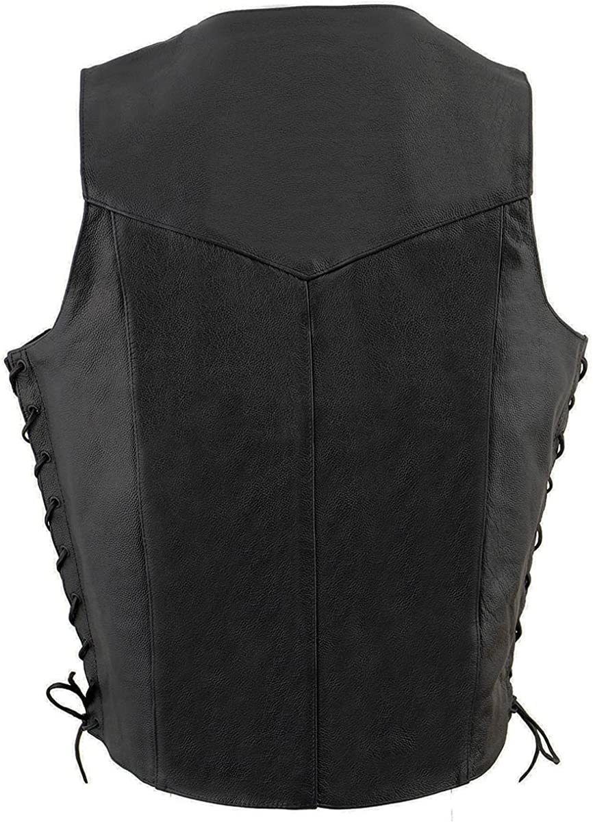 Milwaukee Leather SH1315TALL Men's Tall Sizes Black Leather Classic Side Lace Biker Vest