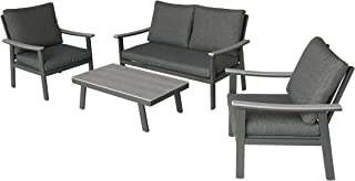 Great Deal Furniture Agnes Outdoor 4 Piece Aluminum and Faux Wood Chat Set with Cushions, Gray and Dark Gray