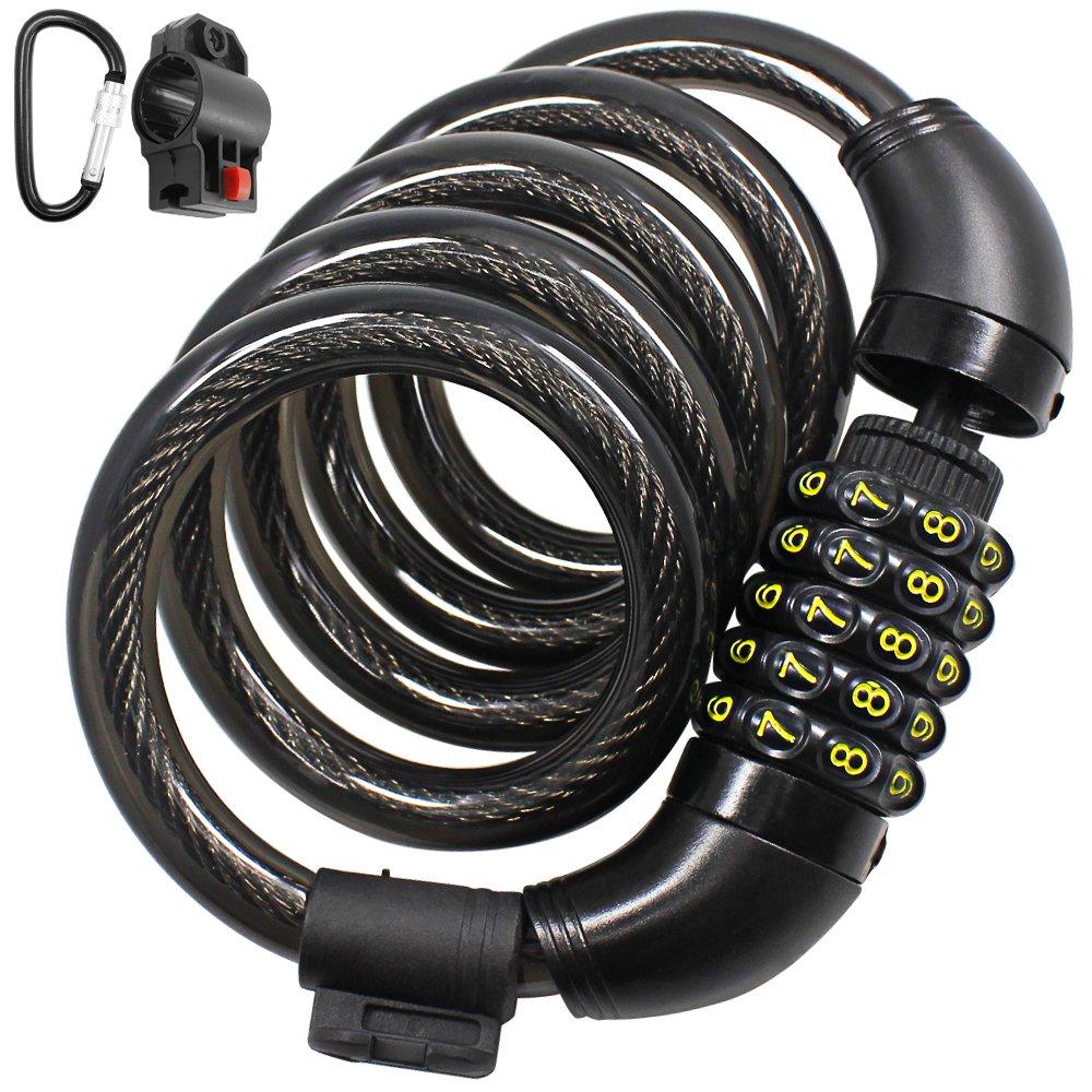 Bicicleta de 5 dígitos candado cable antirrobo con soporte y ...