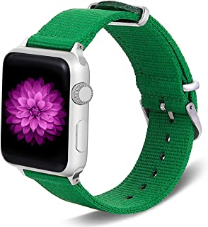 TinaWood Wristband Watch Strap Comfortable Denim Fabric Replacement Watch Band Compatible for iWatch Series 4/3/2/1 (Green...