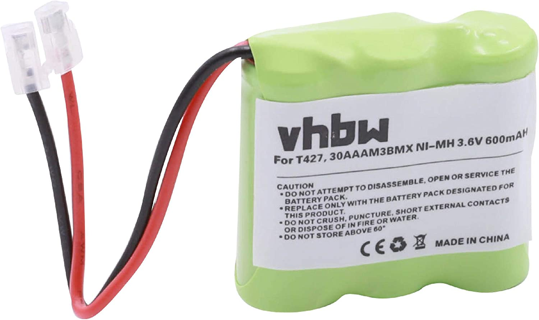 vhbw Batería NI-MH 600 mAh 3,6 V Compatible con Binatone, Commodore, Panasonic, etc. reemplaza T427, 30AAAM3BMX