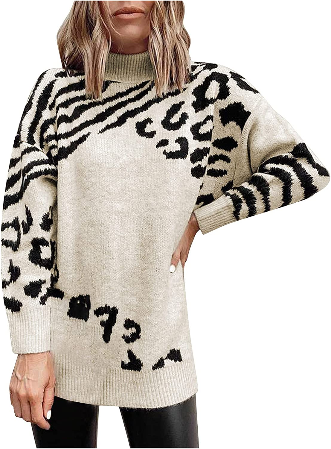 Women's Plush Fleece Long-Sleeved Turtleneck Leopard Sweater Fluffy Soft and Comfortable Pullover