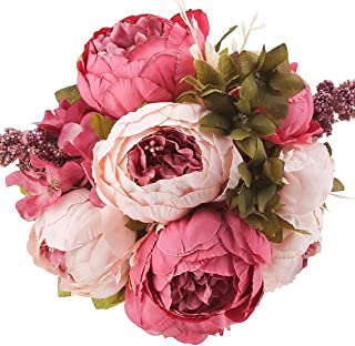 Flojery Silk Peony Bouquet Vintage Artificial Peonies Flower for Home Wedding Party Decor (1pcs, Dark Pink)