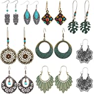 SUNNYOUTH 8 Pairs Vintage Statement Drop Dangle Earrings Bohemian National Style Hollow Water...