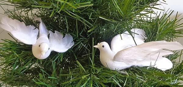灯光羽毛白色鸽子每六只 6 英寸飞行圣诞婚礼教堂装饰