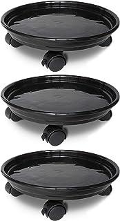JzNova 3 Pack of Plant Pallet Caddy, Planter Pot Mover, Plant Pot Pallet Dolly Caster with Universal Wheels, Black