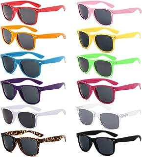 12 pack Unisex 80's Retro Sunglasses Wholesale Neon Colors UV 400 Protection Sunglasses Bulk Party Favor Supplies