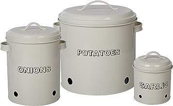 Juego de 3 latas de cocina de SIMPA®, color crema envejecido, diseño vintage para patatas, cebollas y ajo, con orificios de ventilación y tapa metálica