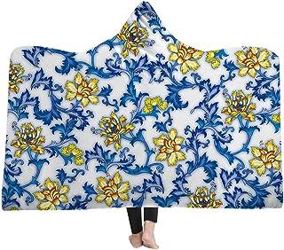 [HomeMiYN]ブランケット大判 着る毛布 フード付き 染付磁器柄 15種類