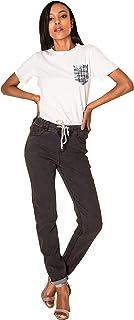 Crazy Age dżinsy damskie Highwaist Straight Denim Stretch długie spodnie dżinsowe z gumowym ściągaczem