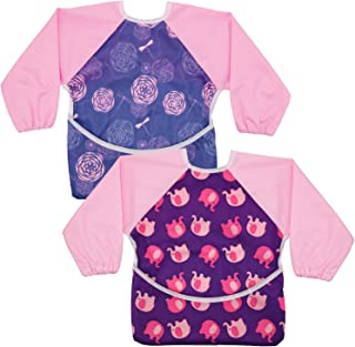 Sponsored Ad - Hautton Toddler Baby Waterproof Sleeved Bib, 2-Pack Set Apron Bib Smock with Long Sleeves and Pocket Toddle...