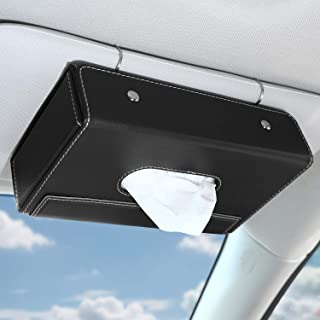 MoKo Car Sun Visor Tissue Box Holder, Premium PU Leather Auto Foldable Hanging Paper Organizer Towel Napkin Pumping Box with Anti-Slip Silicone Pad and Magnetic Buckle for Car Home Office Use, Black