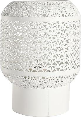 Lampe de chevet Ares, Lampe décorative métal, 40 W, blanc, ø 15 x H 20 cm