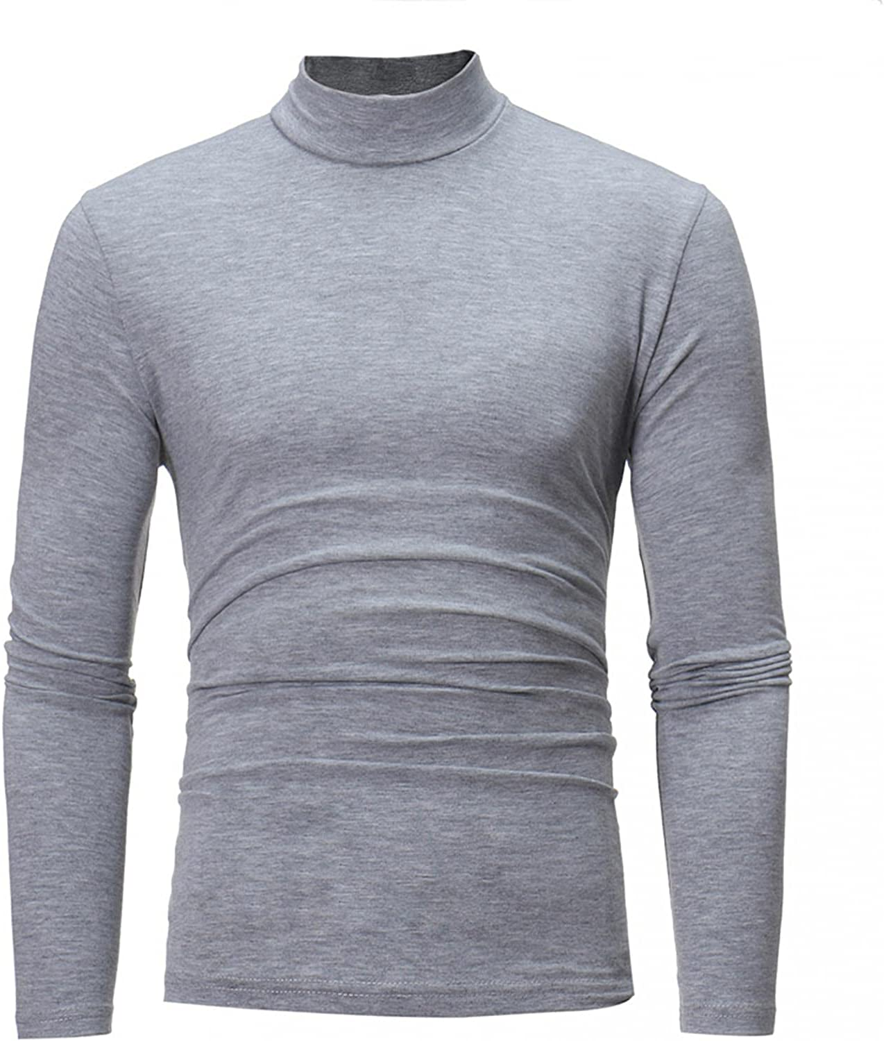 Men's Shirt Long Sleeve Mid-Collar Solid Color Stretch Slim Fit Bottoming Top to wear with Jacket Coat