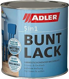 ADLER 5in1 Buntlack für Innen und Außen - 750ml - Wetterfester Lack und Grundierung für Holz, Metall & Kunststoff - Matt, RAL9005 Tiefschwarz