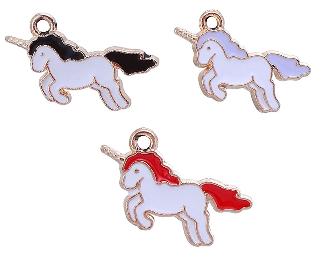 Unicorn Charm Pendants 60 Pack, Gold Tone with Enamel, 7/8 Inch Long - Black Purple Red