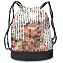 Mosaic Wavy Vector Illustration in Pixel Art Style Fashion Outdoor Shopping Canvas Backpack Bundle Pocket Backpack Rope-Pulling Bag Sports Bag for Fitness Shopping Yoga