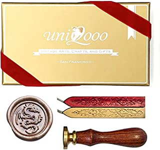 UNIQOOO Arts & Crafts the Flying Dragon Wax Seal Stamp Kit, Gold & Red Wick Wax Sticks, Great Embellishment of Cards, Envelopes, Invitations, Wine Packages, Gift Idea for Film Lover
