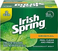 Irish Spring Original Deodorant Bar Soap, 3.20 oz bars, 2 ea
