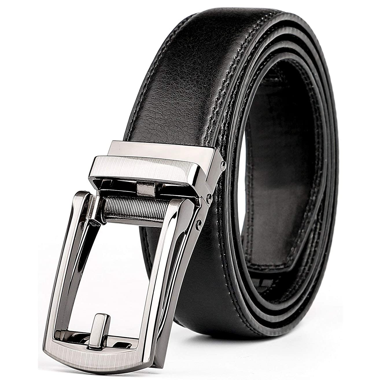 WERFORU Leather Ratchet Dress Belt for Men Perfect Fit Waist Size Up to 44inches with Automatic Buckle