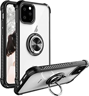 iPhone 11 Pro Max Case 6.5 inch 2019, Clear Crystal Body Anti-Scratch Shockproof Case with 360 Degree Rotation Ring Kickstand(Work with Magnetic Car Mount) for Apple iPhone 11 Pro Max