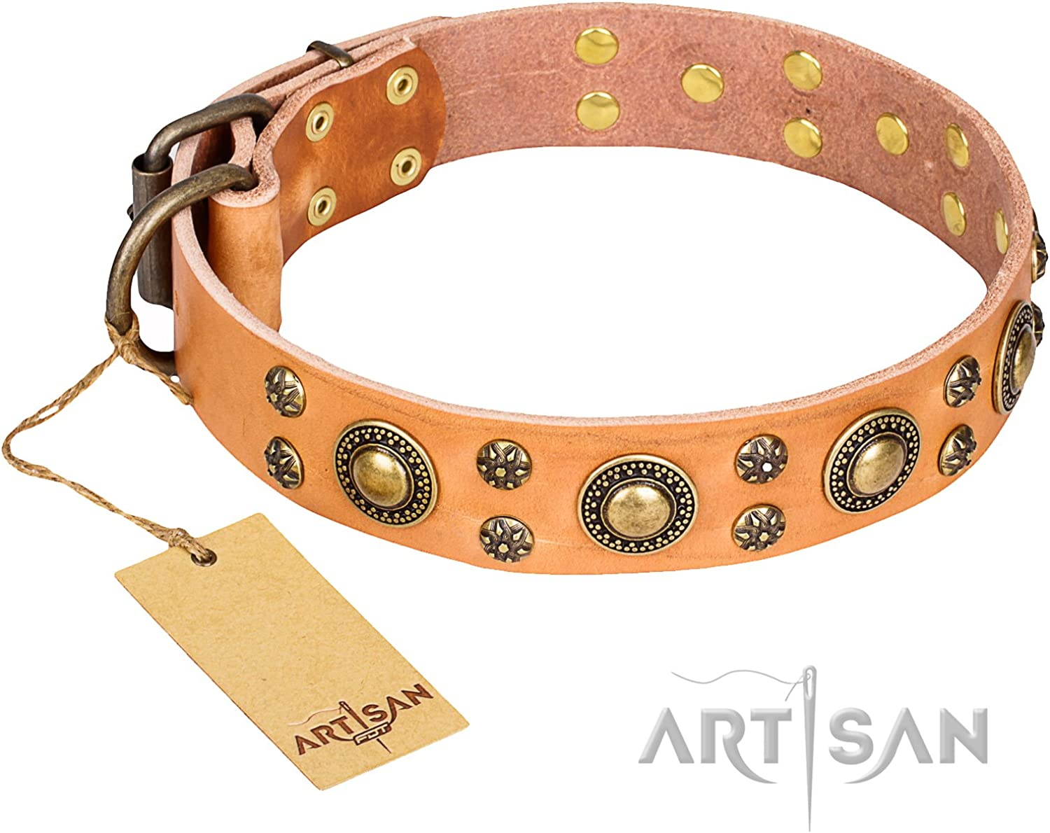 FDT Artisan 16 inch Tan Leather Dog Collar with Brass Plated Decorations Sophisticated Glamor  1 1 2 inch (40 mm) Wide