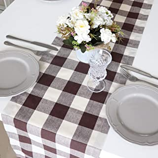ARKSU Christmas Table Runner Plaid Polyester-Cotton Blend for Dinner Table Indoor or Outdoor Parties Home Decor,Brown,12