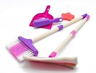 VERZABO Kids Broom Set for Toddlers Kids Cleaning Set for Kids Kitchen Set Broom & Mop Play Kitchen Accessories Broom Dustpan Pretend Play Broom Mop Dustpan Scrub Brush & Sponge