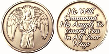 Bulk Lot of 25 Guardian Angel He Will Command His Angels To Guard You In All Your Ways Bronze AA Medallion Chip Set