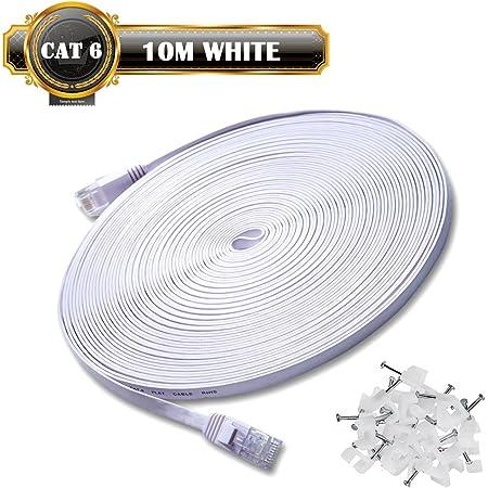 10m de Câble Réseau Blanc - CAT6 (amélioré) Câble Cat 6 Ethernet Plat 1000 Mo/s 350MHz - 100% Fil de Cuivre - Supporte Switch/Routeur/Modem/TV Box/PC/Xbox/PS3/PS4 - avec Cable Clips !!!