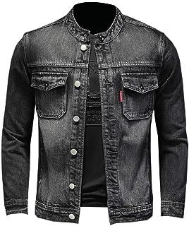 U/A Giacca di Jeans Autunno e Inverno Personalizzato Colletto alla Coreana Giacca di Jeans Giacca di Jeans da Uomo Grande