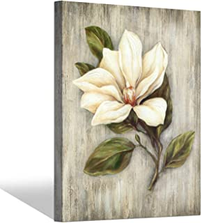 Flower Artwork Floral Canvas Painting: White Magnolia Picture Prints Wall Art for Bedroom (24'' x 18'' x 1 Panel)