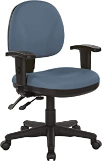 Office Star Ergonomic Sculptured Manager's Chair with Adjustable Arms, Dillon Blue Fabric