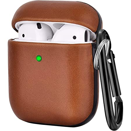 V-MORO Compatible with Airpods Case, Genuine Leather Airpod Cases for Airpods 2 and Airpod 1 [Front LED Visible] Protective Cover Skin Brown