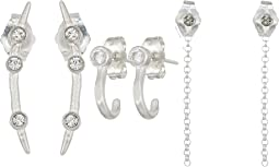 Dogeared The Perfect Ear, CZ J Bar Stud, Star and Chain Stud, Crystal Arc Stud 3 Earrings Set