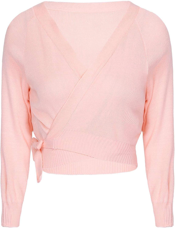vastwit Women's Front Knot Long Sleeve Wrap Tops Ballet Dance Warm-Up Cardigan Shrug Sweater