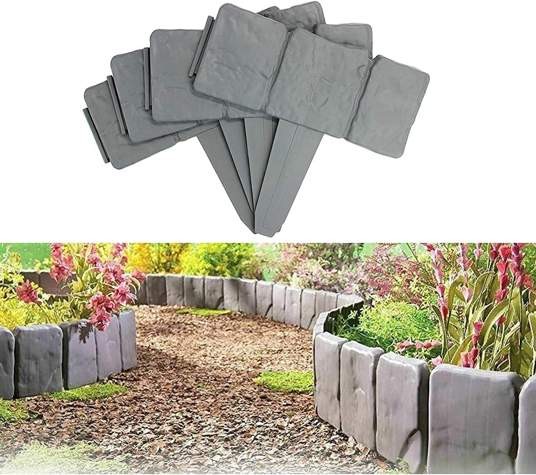 Garden Fence Edging, Plastic Stone Effect Edging Interlock Flower Bed Border Grass Edge Imitation Garden Decoration Fence Plant Bordering (20, Gray)