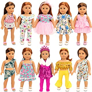 BARWA 24PCS American Doll Girl Doll Clothes and Accessories for 18 inch Doll - 10 Sets Doll Clothing, Mermaid, Princess, H...