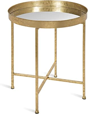 """Kate and Laurel Celia Metal Foldable Round Accent Table, 18.25"""" x 18.25"""" x 22"""", Glass Surface and Gold Frame, Modern Minimalist Design and Detachable Magnetic Tabletop"""