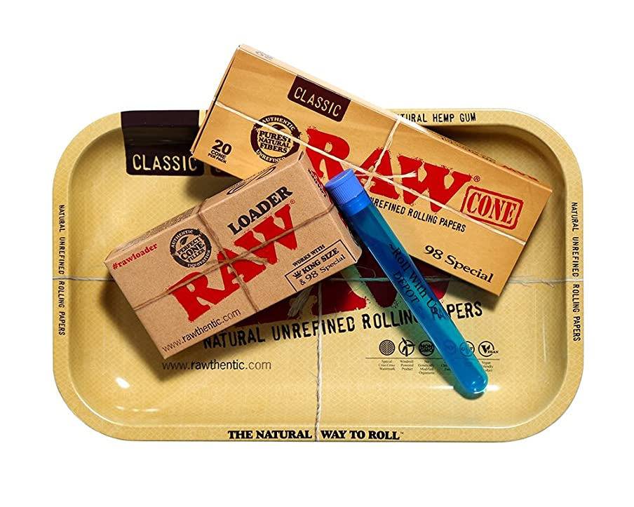 RAW 98 Special Pre Rolled Cones Supreme Bundle Includes: RAW Rolling Tray, RAW 98 Special Pre Rolled Cones 20 Pack, RAW Cone Loader, and Roll With Us Depot Doobtube