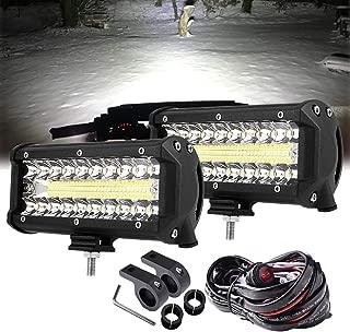 LED Driving Lights 7 Inch Triple Row Spot Flood Combo Beam 300W LED Light Bars with Wiring Harness Mounting Brackets Work Light Fog Lights Waterproof for Truck ATV UTV SUV Jeep Trailer Tractor, 2pcs