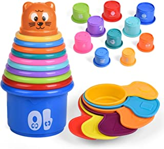 16 PCs Animal Bath Stacking Cups for Toddlers, Baby Bath Toys Learning Educational Toys