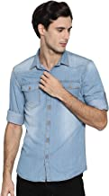 OJASS Men's Self Design Casual Blue Shirt