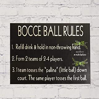 Bevis554Yule Bocce Ball Rules Sign, Outdoor Decor Wood Sign, Game Sign, Yard Sign 1218inches.