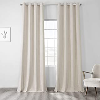 HPD Half Price Drapes FLCW-CBO192-84-GR Vintage Thermal Cross Linen Weave Max Blackout Grommet Curtain (1 Panel), 50 X 84,...