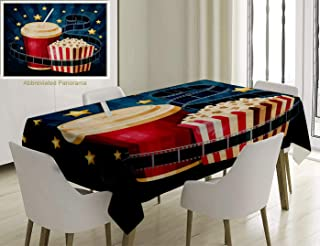 Nalagoo Unique Custom Cotton and Linen Blend Tablecloth Popcorn Box Cola Film Strip and Stars On The Blue Stripy BackgroundTablecovers for Rectangle Tables, Small Size 48 x 24 inches