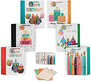 ViiGift Premium Large Birthday Gift Bags with Glitters and Tags - A Complete Set. Includes 6 glittered gift bags with tags, 6 matching birthday greeting cards, 6 envelops, 18 tissue papers.