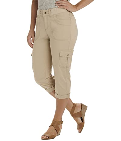 Lee Relaxed Fit Austyn Knit Waist Cargo Capris (Cafe 1) Women