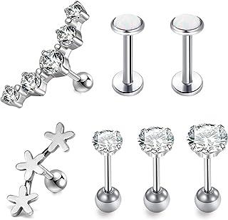 LAURITAMI 7pcs Piercing di Cartilagine Orecchini Helix Trago Bottone Borchie 6mm CZ Opale 16G Orecchini Chirurgici Acciaio...