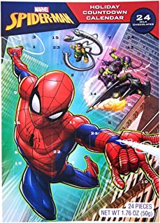 2019 Marvel Spiderman Chocolate Advent Calendar with 24 Milk Chocolates for Holiday Countdown